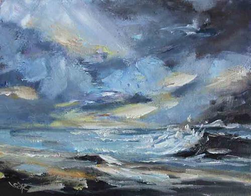 Sabine Schramm, Meerbild o.T. (180405), Landscapes: Sea/Ocean, Contemporary Art, Abstract Expressionism