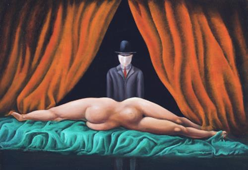 Peter Hutter, Magritte trifft Velasquez, Erotic motifs: Female nudes, People: Women, Post-Surrealism