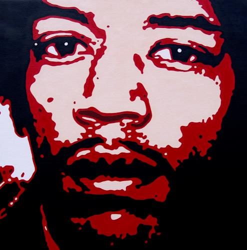 Jens Jacobfeuerborn, Jimi Hendrix 2, Music: Musicians, People: Portraits, Pop-Art, Abstract Expressionism