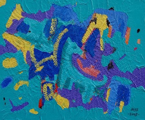 Jens Jacobfeuerborn, grünes Tierwesen in abstrakter Umgebung, Abstract art, Miscellaneous Animals, Abstract Art