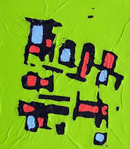 Jens Jacobfeuerborn, Alte verwilderte Lokomotive, Abstract art, Fantasy, Pop-Art, Expressionism