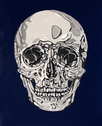 Jens Jacobfeuerborn, Totenkopf variationen (1-5) Nr.2, Death/Illness, Symbol, Op-Art, Abstract Expressionism