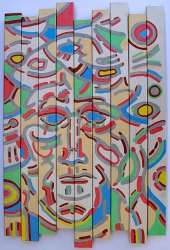 Jens Jacobfeuerborn, Lattenbild mit Gesicht, People: Faces, People: Men, Modern Age