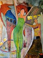 Ilona-Felizitas-Hetmann-People-Women-People-Group-Modern-Age-Abstract-Art