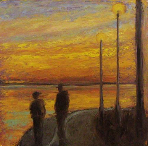 Margareta Schaeffer, SONNENUNTERGANG AM PLATENSEE, Landscapes: Sea/Ocean, People: Children, Impressionism, Expressionism