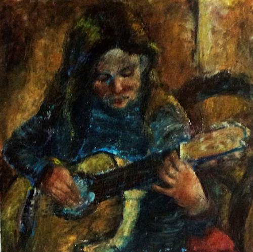 Margareta Schaeffer, MÄDCHEN m.GITARRE, People: Children, Music: Instruments, Impressionism, Expressionism
