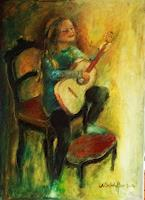 Margareta-Schaeffer-People-Children-Music-Instruments-Modern-Age-Impressionism