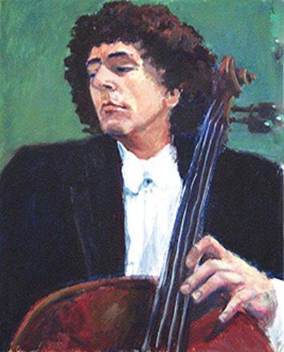 Margareta Schaeffer, Der Cellist, People: Men, Music: Musicians, Impressionism, Expressionism