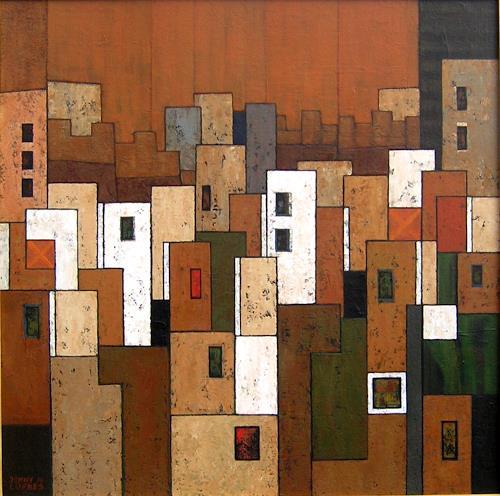 Jonny Lüpkes, Cityscape (Rabat), Landscapes, Abstract art, Contemporary Art, Expressionism