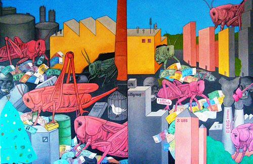 José García y Más, Hedgefonds / Heuschrecken, Market, Symbol, Contemporary Art
