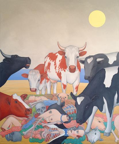 José García y Más, Mad Cow Disease 2 / Rinderwahn 2, Market, Animals: Land, Contemporary Art, Abstract Expressionism