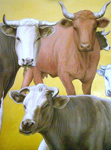 José García y Más, Cows / Kühe, Market, Animals: Land, Contemporary Art, Expressionism