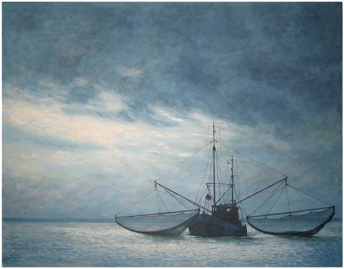 Uwe Thill, Krabbenfischer, Landscapes: Sea/Ocean, Verkehr: Ship, Realism, Expressionism