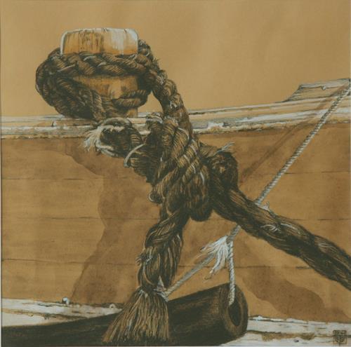 Uwe Thill, Vertäut, The world of work, Verkehr: Ship, Contemporary Art, Expressionism