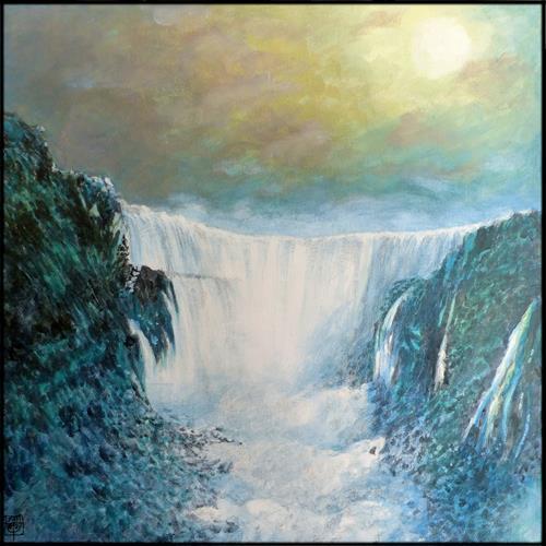 Uwe Thill, Verweilen am Wasserfall, Landscapes, Landscapes: Autumn, Contemporary Art