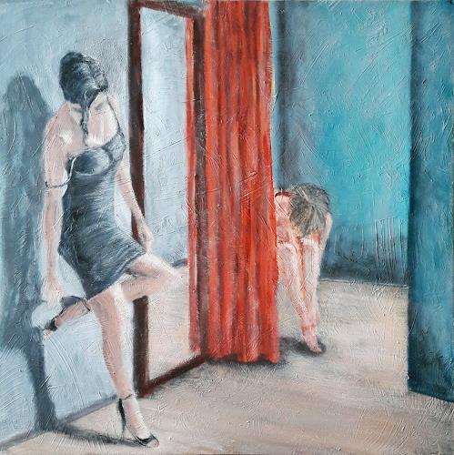 Jürgen Kühne, Schuhwechsel vor der Milonga, People: Women, Contemporary Art, Expressionism