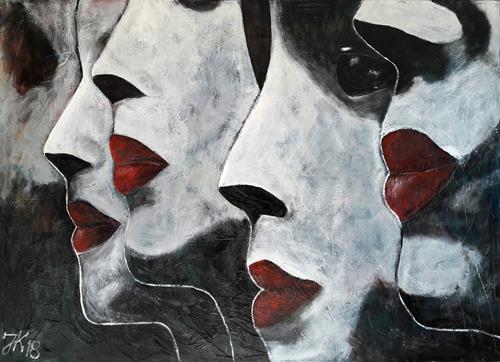 Jürgen Kühne, quartett, People: Group, Contemporary Art, Abstract Expressionism