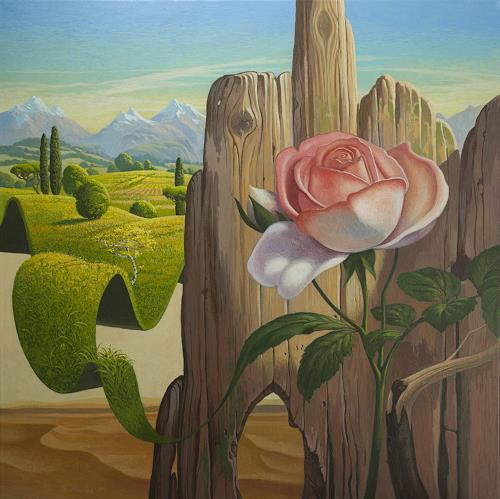 Stefan Ambs, Kampf der zwei Welten, Landscapes: Hills, Plants: Flowers, Symbolism, Expressionism