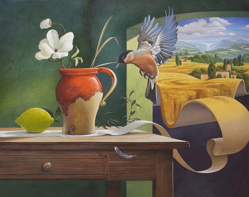 Stefan Ambs, Die Entstehung 3, Landscapes: Summer, Animals: Air, Mannerism, Expressionism