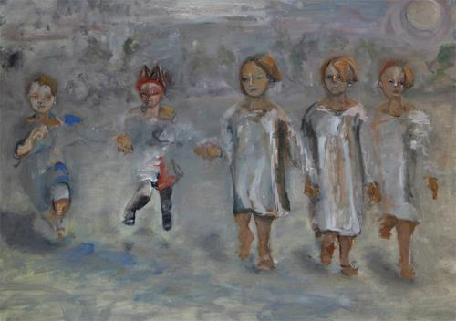 Iris Alvarenga, Mondschein, People: Children, Contemporary Art, Abstract Expressionism