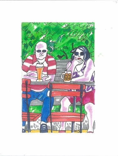 Monika Aladics, Gespräche im Biergarten (Conversations at the Beer garden), People, Times, Contemporary Art