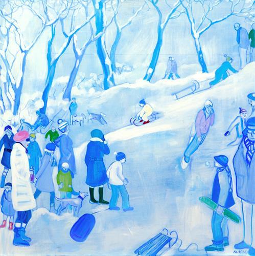 Monika Aladics, Wintergedicht / Winter Poem, People: Group, Landscapes: Winter, Contemporary Art