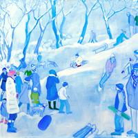 Monika-Aladics-People-Group-Landscapes-Winter-Contemporary-Art-Contemporary-Art
