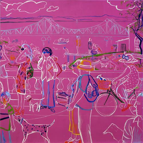 Monika Aladics, Zwischenstopp (Having a Brake in the middle of the Road) Serie: Berliner & Potsdamer Geschichten, Situations, Humor, Abstract Art