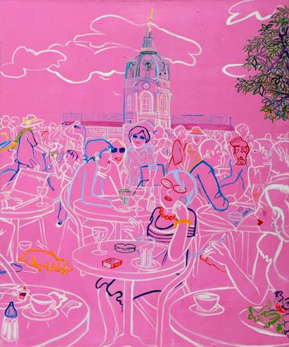 Monika Aladics, Sommer in Charlottenburg (Summer in Charlottenburg), People, Architecture, Contemporary Art