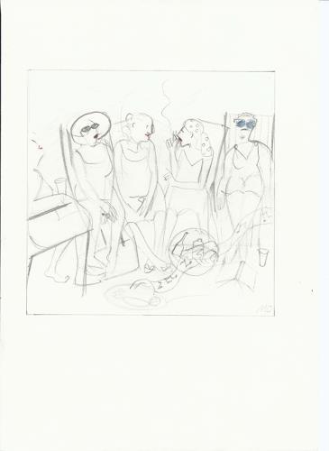 Monika Aladics, Tagträume (Daydreaming) / Serie im Grünen (Series: Outdoors), People: Group, Leisure, Contemporary Art
