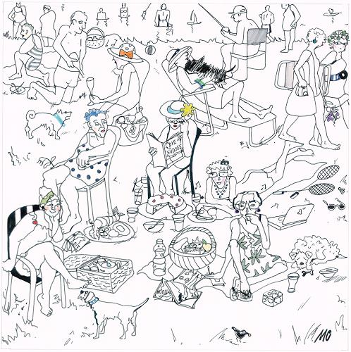Monika Aladics, Picknick der Pensionäre (Pensioners' Picknick), People: Group, Contemporary Art, Expressionism