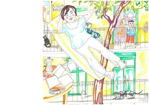 Monika Aladics, Das gelbe Haus / Serie: Tagträume (The Yellow House), People: Children, Emotions: Safety, Contemporary Art