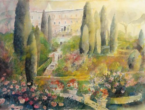 Ulrich Hartig, Aux Cyprès de la Villa d'Este, Plants: Trees, Interiors: Gardens, Abstract Art, Expressionism