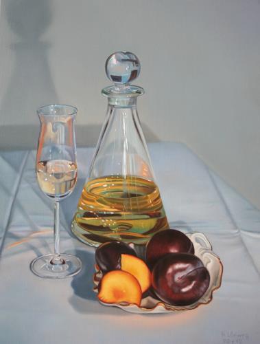 Ralf Vieweg, Pflaume natur und gebrannt, Still life, Photo-Realism, Expressionism
