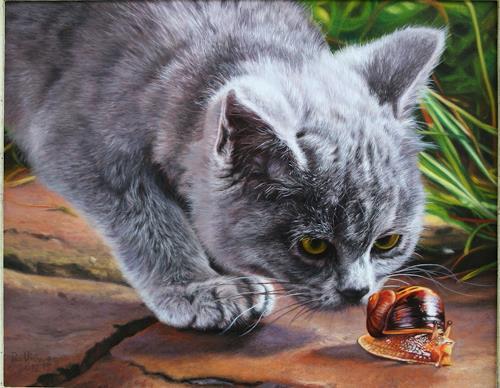 Ralf Vieweg, Emma mit Schnecke, Animals, Nature, Photo-Realism, Expressionism