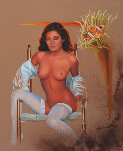 Ralf Vieweg, Lady II auf Messingstuhl, Erotic motifs: Female nudes, People: Women, Contemporary Art