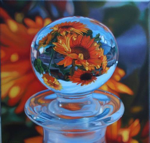 Ralf Vieweg, Glasknopf mit Sonnenblumen, Plants: Flowers, Still life, Realism