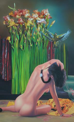 Ralf Vieweg, Revierkampf der Grünfinken, Erotic motifs: Female nudes, Symbolism, Expressionism