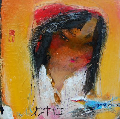 zalans, girl with bird, Abstract art, Expressionism, Abstract Expressionism