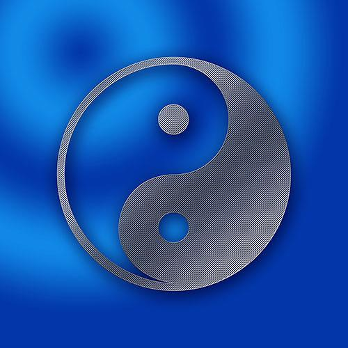 Liona Toussaint, YinYang in metalic blue, Symbol, Abstract art, Symbolism