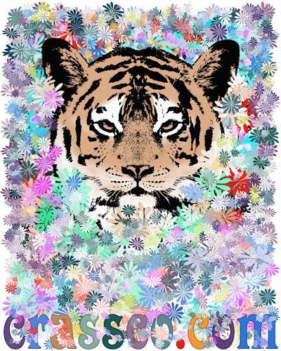 Liona Toussaint, FLOWER TIGER, Animals: Land, Plants: Flowers, Art Déco
