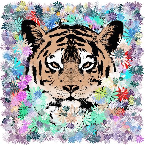 Liona Toussaint, FLOWER TIGER, Animals: Land, Plants: Flowers, Primitive Art/Naive Art
