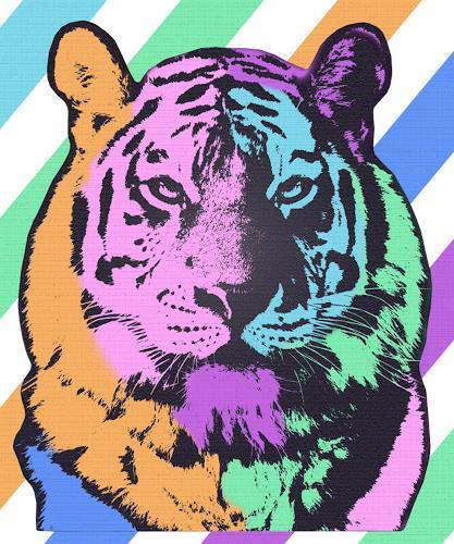 Liona Toussaint, TIGER MULTICOLOR, Animals: Land, Abstract art, Pop-Art