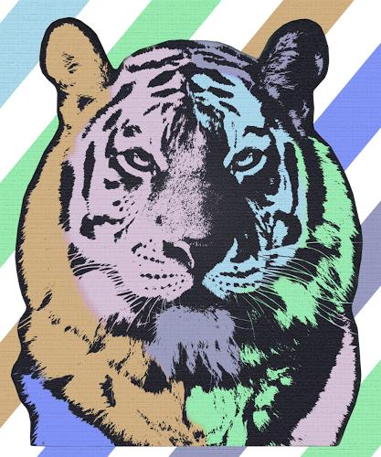 Liona Toussaint, TIGER, Animals: Land, Decorative Art, Pop-Art