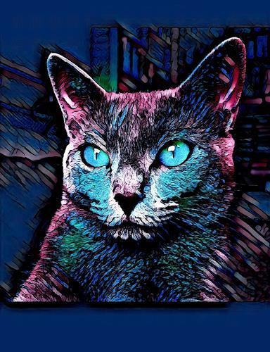 Liona Toussaint, CAT MULTICOLOR, Animals: Land, Fantasy, Abstract Art