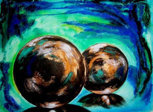 U.v.Sohns, die Magie der Kugeln - braun -, Decorative Art, Abstract art, Abstract Art