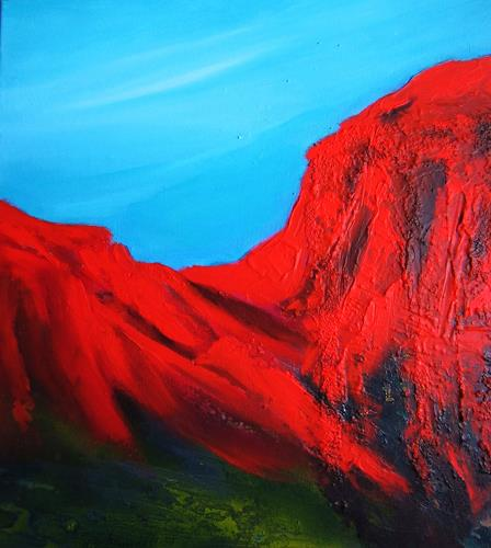 U.v.Sohns, bruciato I, Landscapes: Mountains, Abstract art, Modern Age, Abstract Expressionism