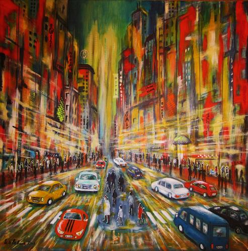 U.v.Sohns, City-ligths 2, Interiors: Cities, Movement, Modern Age, Abstract Expressionism