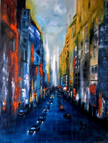 U.v.Sohns, city lights -6-, Miscellaneous Buildings, Miscellaneous Traffic, Contemporary Art, Abstract Expressionism