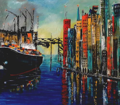 U.v.Sohns, Colored Port Impression, Verkehr: Ship, Miscellaneous Buildings, Contemporary Art, Expressionism